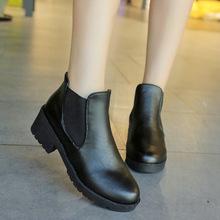 2017秋季新款馬丁靴女韓版低跟女短靴粗跟皮靴低筒女鞋