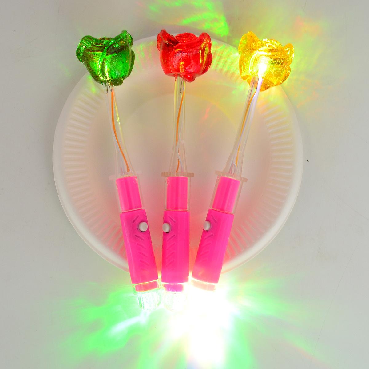 厂家直销玫瑰荧光棒棒糖儿童休闲水果硬糖酒吧夜场ktv发光棒棒糖