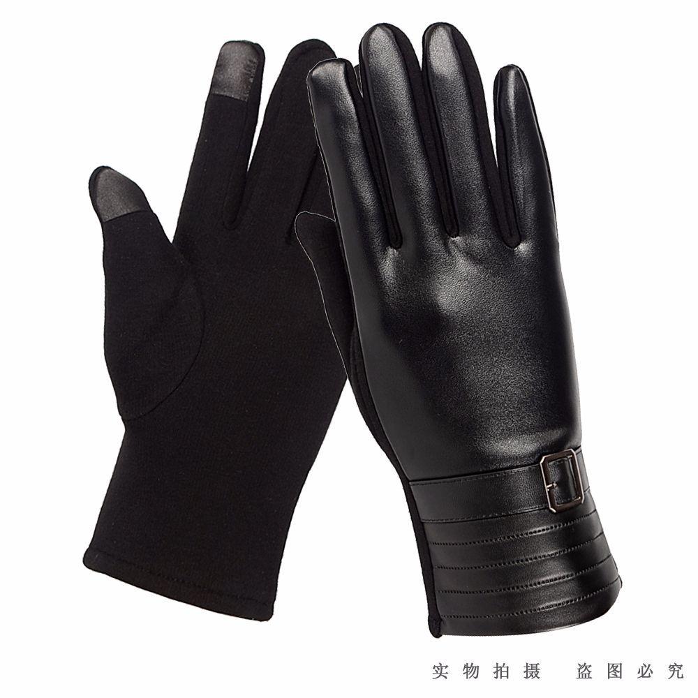 触屏手套男士冬季骑行皮革手套摩托保暖加绒情侣手套男女