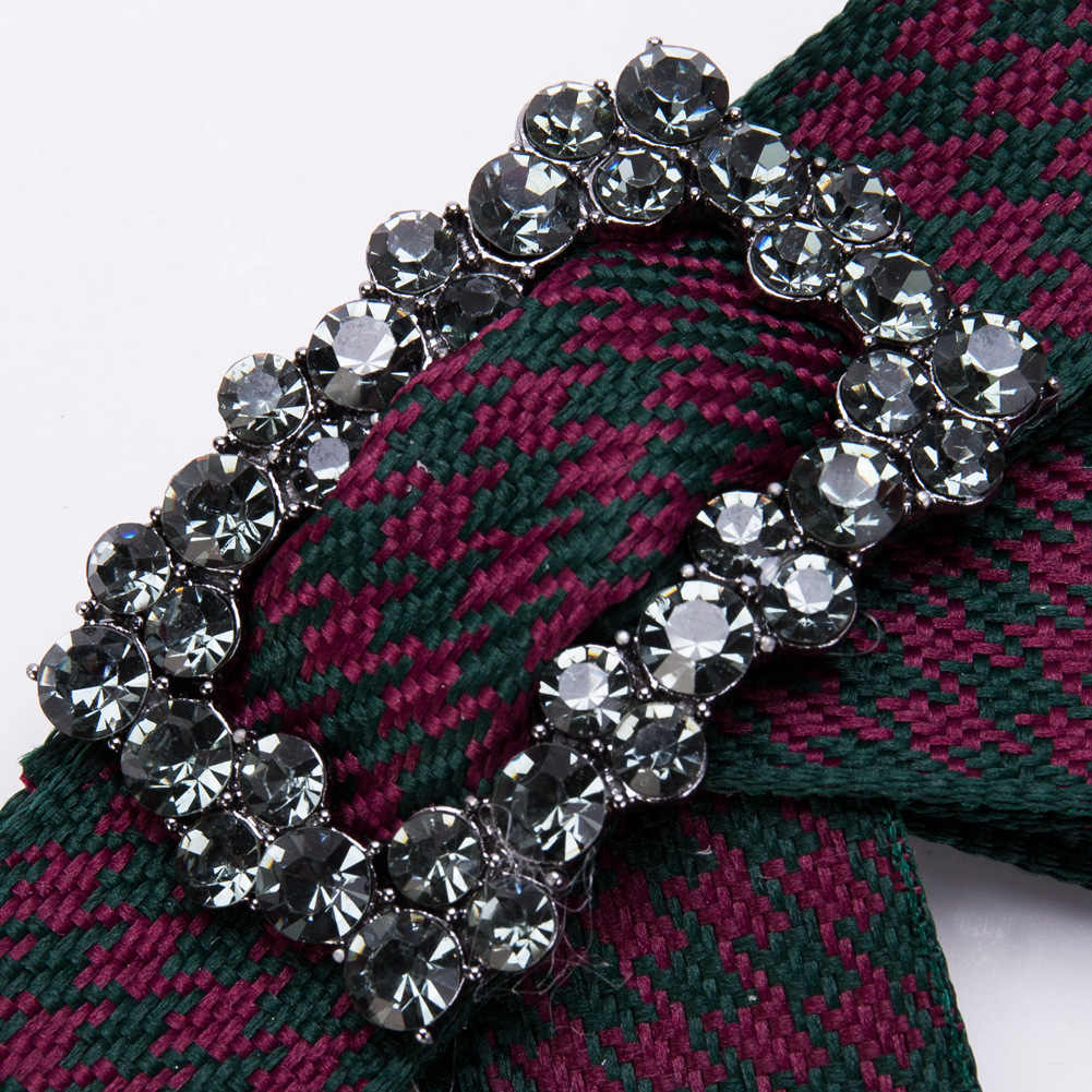 Fashion Alloy Rhinestone brooch Bows (Red and green)  NHJE0922-Red and green