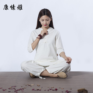 Kung fu tai chi clothing for women cotton and Hemp Yoga suit female sitting meditation wushu martial art performance top and pantf for women