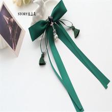 韩国日韩日系甜美立体造型珍珠流苏吊坠大蝴蝶结长飘带马尾夹发夹