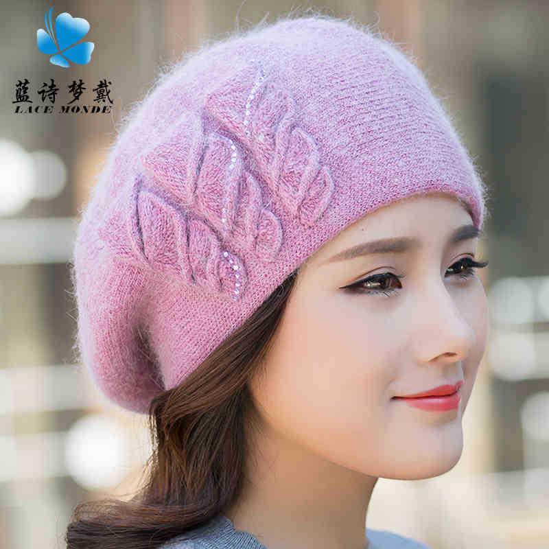 厂家批发秋冬季新款帽子女韩版保暖双层织花贝雷帽时尚逛街兔毛帽