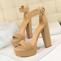 1550-1 Euro-American style thick-heeled super-thin high-heeled shoes Sexy nightclub women's shoes waterproof platform, open-toed leather belt buckle sandals