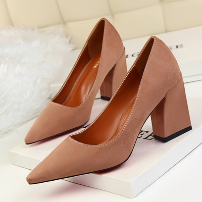 Han edition 1288-1 contracted comfortable with suede shallow pointed mouth thick with high professional OL shoes