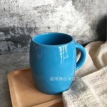 蓝色釉水桶杯大肚酒桶杯 广告促销水杯陶瓷杯马克杯定制logo图案