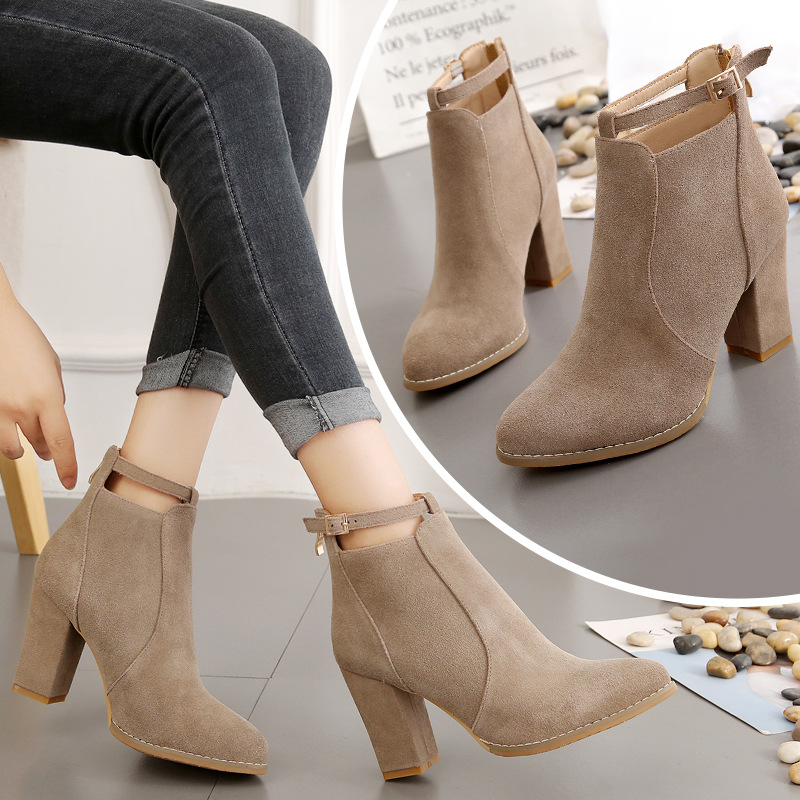 2018秋冬新款短靴单靴英伦风粗跟高跟鞋靴子后拉链外贸大码马丁靴