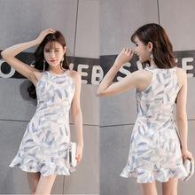 韩版女装2017春夏新款挂脖露肩荷叶边收腰修身显瘦无袖包臀连衣裙