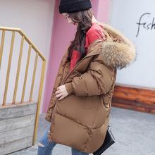 2017秋冬新款韩版茧型中长羽绒服加厚大码孕妇装棉衣女外套代发