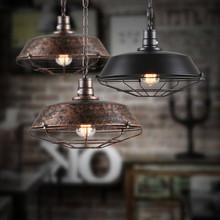 美式工业复古吊灯 个性餐厅酒吧客厅卧室铁艺灯锅盖铁?#23458;?#32617;吊灯