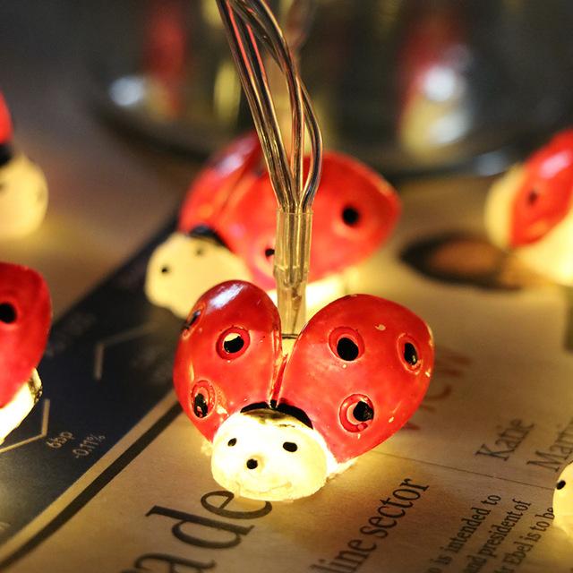 小彩灯星星灯灯串 DIY手工创意小瓢虫装饰房间宿舍电池装饰灯串