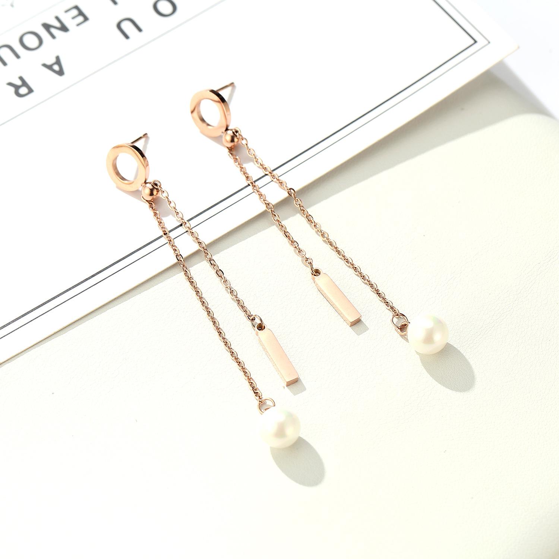 folk-custom metal plating Titanium steel earrings (Rose gold pair)NHIM0971-Rose gold pair