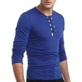 Autumn new men's personality button t-shirt British solid color round neck Slim T-shirt male