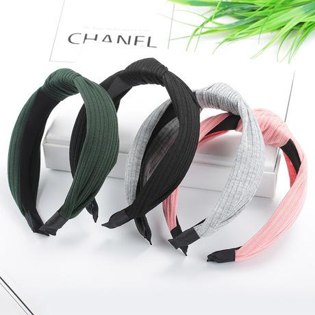 Phiên bản Hàn Quốc của phụ kiện tóc sáng tạo vải đan chéo màu rắn headband băng tóc bông sọc headband trang điểm bán buôn