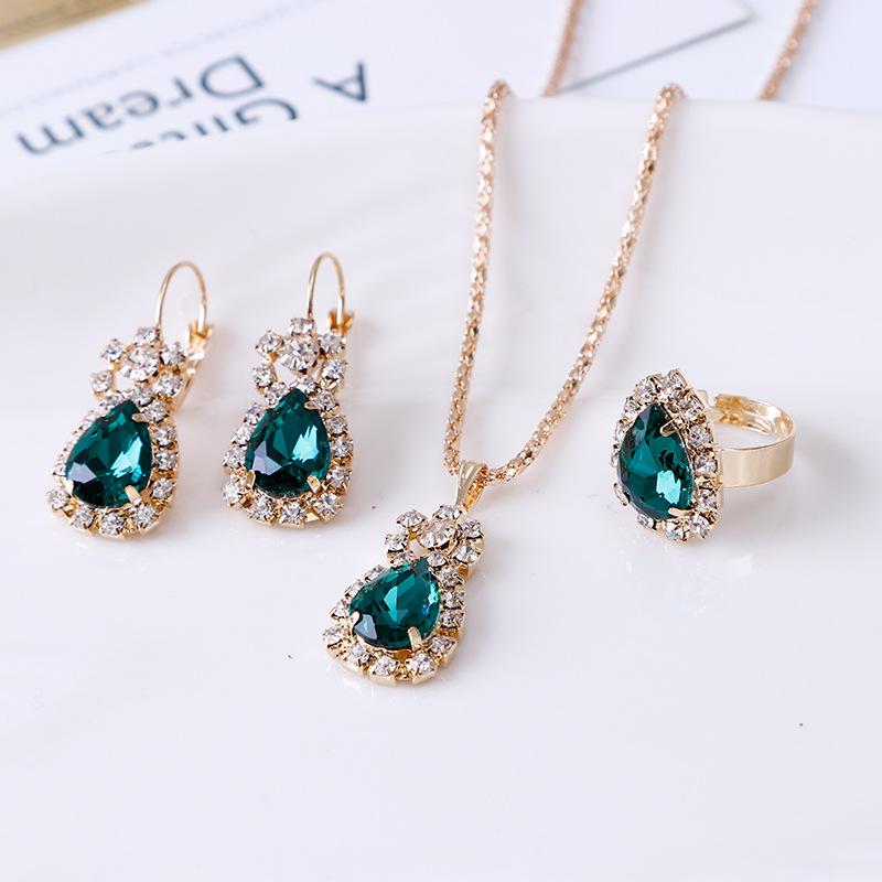 欧美个性水滴水钻项链耳环戒指套装新娘饰品批发三件套