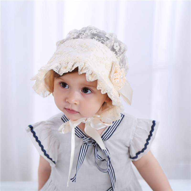 3588aab485610 Baby Girls Bonnets Patterns Spring Summer Hats Caps Baby White Pink ...
