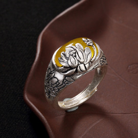 One deer silver S990 foot silver retro matte lotus mosaic opening lady's high-grade hundred matching ring agent