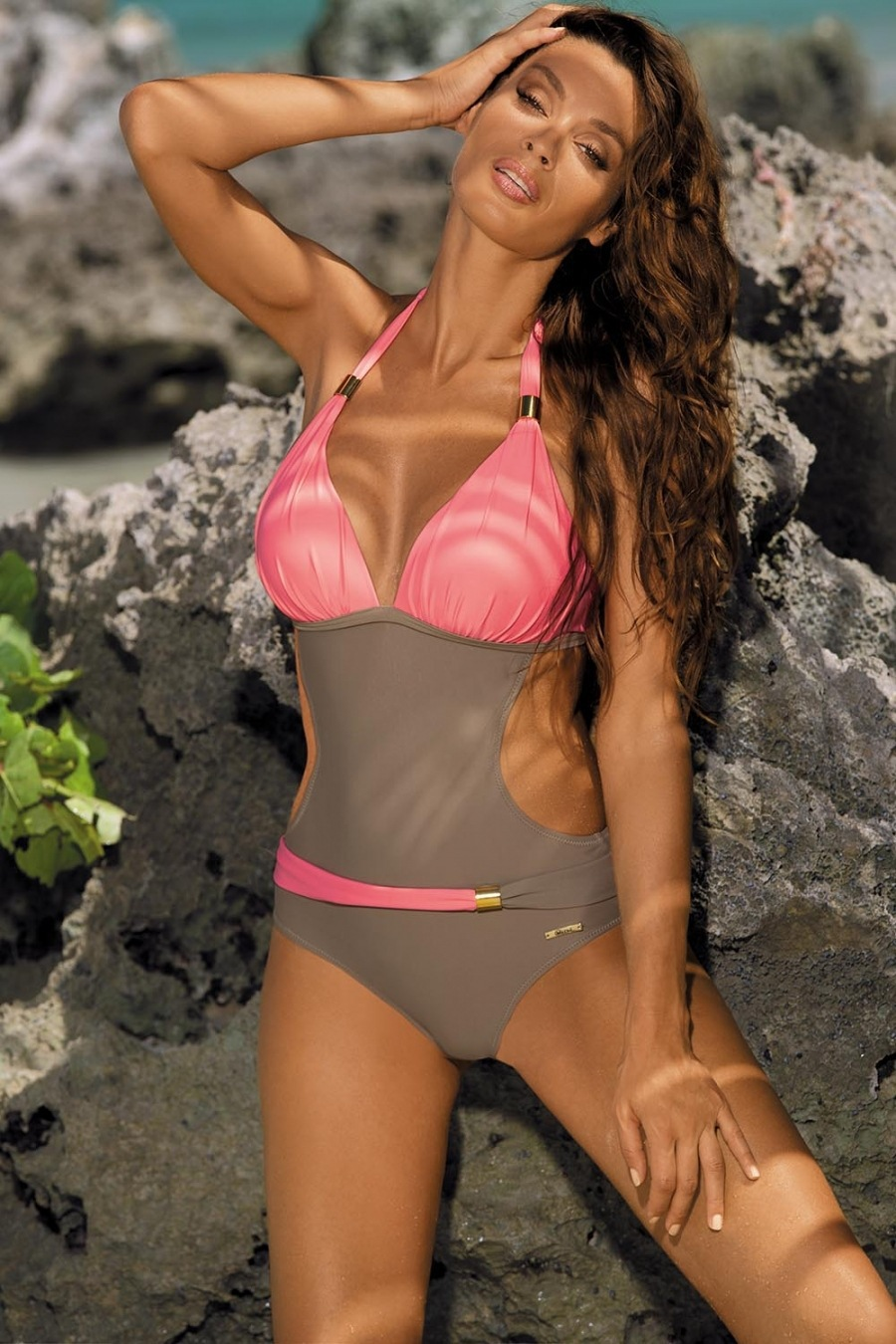 Hot selling fashion color one-piece women's swimsuit NSHL529