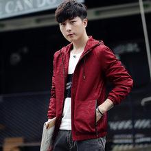 2017秋季薄款韩版男士外套男装韩版连帽修身迷彩立领夹克一件代发