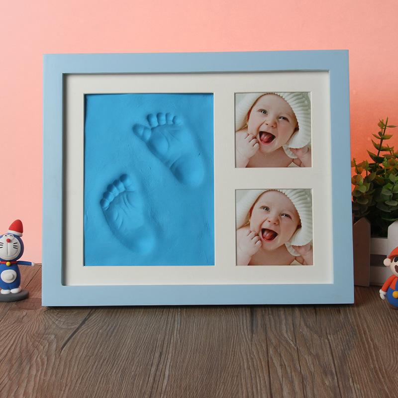 宝宝印泥相框手脚印泥十寸实木相框婴儿百日生日印泥相框厂家批发