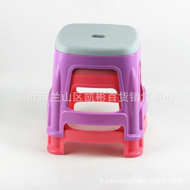 192家用防滑凳 加厚耐用塑料凳子双面凳 双色圆凳9.9元10元店货源