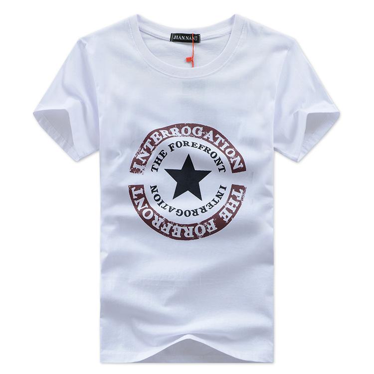 夏装短袖T恤男圆领衫印花修身夏季半袖青少年体恤韩版潮-星星