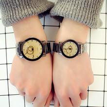新款韓版潮流簡約個性復古原宿風學生男女士石英鋼帶情侶手表一對