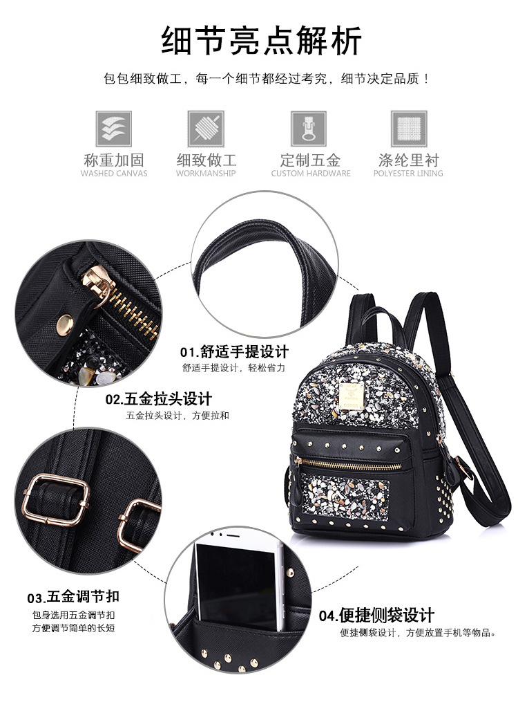 Korean version PUfashion bag (black)NHPB0139-black
