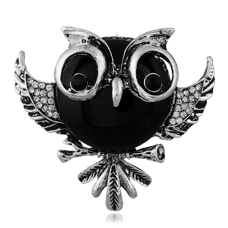 Occident and the United States alloy plating brooch (Ancient silver - black)NHKQ1225-Ancient silver - black
