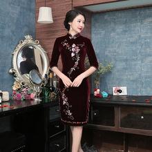 深圳厂家旗袍女士改良中长款金丝绒钉珠旗袍连衣裙新款唐装女