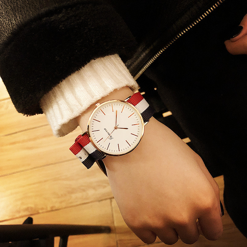 FashionStudent watch(Large blue and white red) NHCN0001-Large blue and white red
