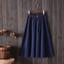 夏季新款学院风 小清新文艺 A字裙子 百搭中长半身裙女 送腰带
