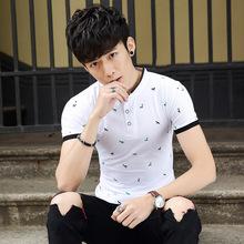 2018夏季新款短袖立领印花T恤纯棉薄款大码体恤青年时尚潮流男装