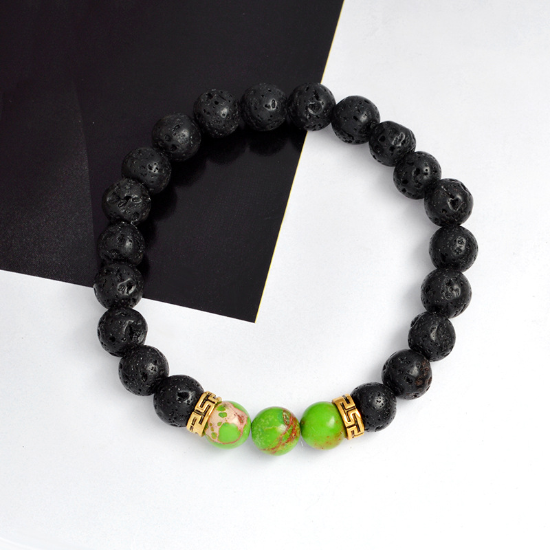 New natural lava stone volcanic stone colored energy beads bracelet NHBO199846