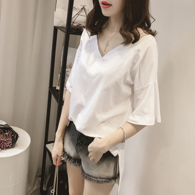 批发2019夏装新款韩版纯色大码女装宽松V领吊带短袖T恤女士上衣潮