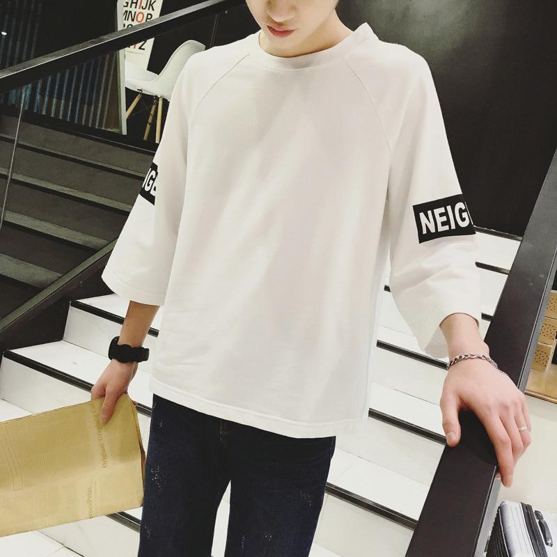 一件代发七分袖T恤男士韩版新款上衣服青少年学生中袖潮流男装