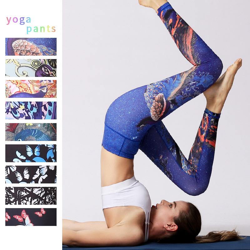 新款孔雀蝴蝶印花瑜珈裤 高腰紧身舞蹈健身裤女士瑜伽裤一件代发