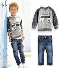 一件代發外貿童裝潮范男童車車牛仔童裝 上衣+牛仔褲套裝