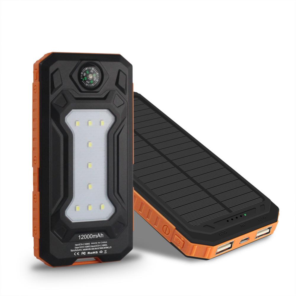 跨境专供太阳能移动电源套料10000毫安太阳能指南针露营灯充电宝