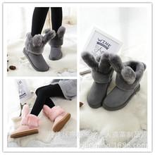 厂家直销兔耳朵羊皮毛一体短筒加厚真皮雪地靴女棉鞋冬季新款