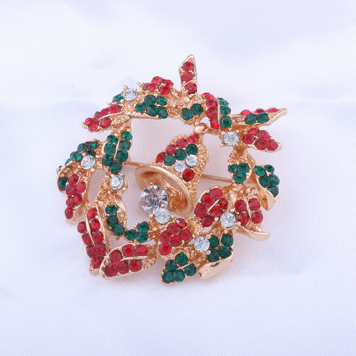 Occident and the United States alloy Diamond brooch (Christmas wreaths)NHNMD3847-Christmas wreaths