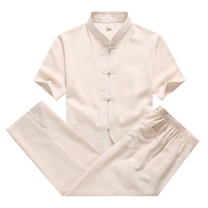 tang suit tops for men loose cotton linen short sleeve Tang suit