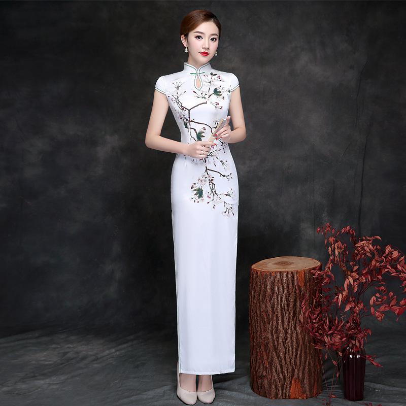 春夏日常修身丝绸旗袍女成人 时尚改良复古中国风丝绸旗袍长款