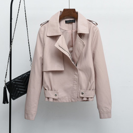 Haining ladies short pu leather new women's spring and autumn coat locomotive beautiful leather jacket