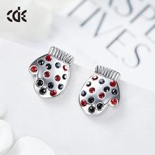 西黛爾聖誕節新款歐美個性手套水晶耳釘采用施華洛世奇元素批發