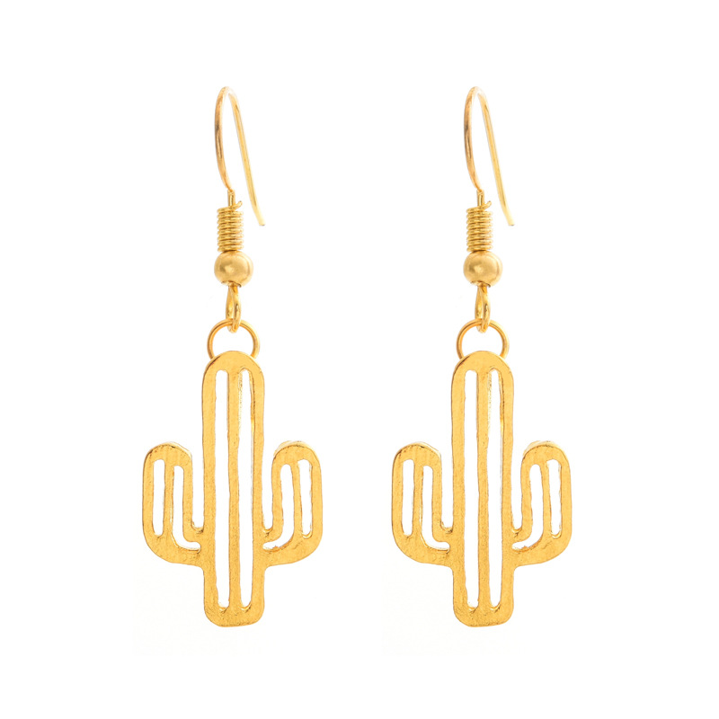 Stylish and simple hollow cactus earrings NHCU146630