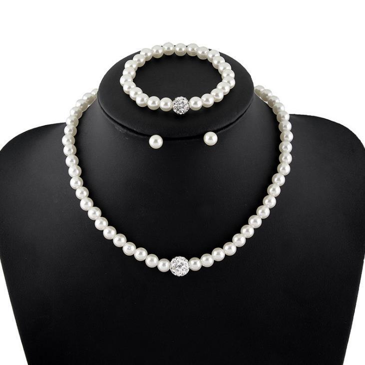 C130新款三件套 高档珍珠项链耳钉手链套装 速卖通耳饰热销款饰品