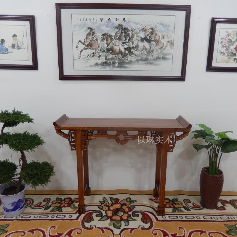 实木铜钱条案供桌玄关桌明清仿古家具翘头桌中式供台香案佛台神台