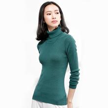 冬季熱賣女士高翻領羊毛衫女式緊身抽條套頭毛衣時尚針織打底衫