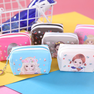 Factory wholesale little girl girls square small coin purse PVC cartoon printing zipper cloth hand storage bag
